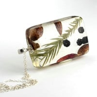 Nature Resin Necklace in Sterling Silver, resin jewelry, leaves in resin.