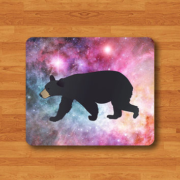 Black Bear Hunting Cartoon Galaxy Nebula Hipster Mouse Pad Drawing Desk Deco Paint Polyester Screen Rubber MousePad Personalized Gift Wild
