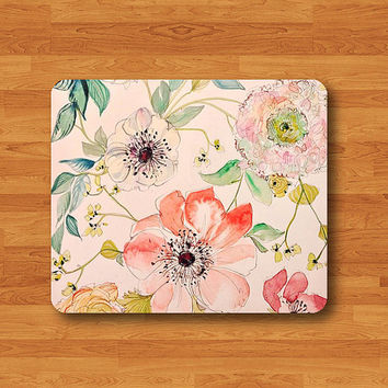 Vintage Flower Rose Floral Jasmine Girl Beautiful Pattern Mouse Pad MousePad Desk Deco Work Pad Mat Rectangle Personal Gift Christmas