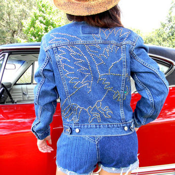 Studded Levis Denim Jacket - Vintage 90s Blue Stone Washed LEVIS Jean Jacket w hand studded EAGLE Design in silver studs - small s OOAK