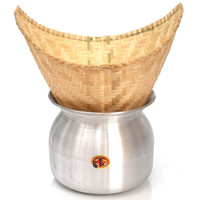 Aluminum Sticky Rice Cooker Pot Steamer and 2 Basket Set