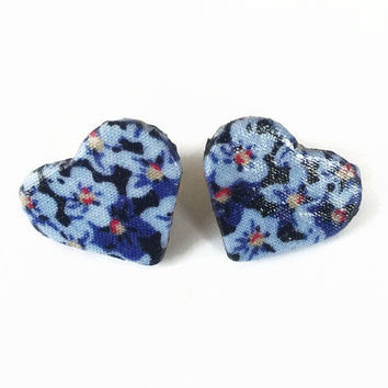 Blue Floral Fabric Wooden Heart Earrings