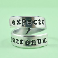 expecto patronum - Hand Stamped Spiral Ring, Harry Potter Inspired Ring, Personailzed Ring