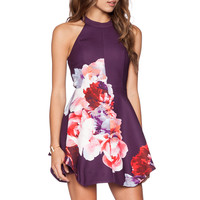 keepsake To The End Mini Dress in Digital Rose Fig