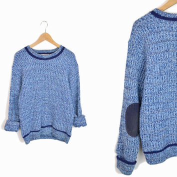 Vintage Marled Blue Elbow Patch Sweater - men's medium