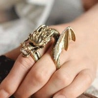 Lucky Dragon Two Finger Ring | LilyFair Jewelry