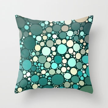 teal dots Throw Pillow by Sylvia Cook Photography