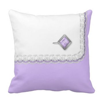 Lace-edge Doily and Initialed Button on Lavender