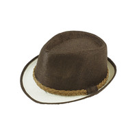 Braided bands two color narrow brim fedora