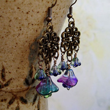 Handmade brass earrings czech beads drop earrings filigree earrings Boho Gypsy Hippy Artisan jewellery