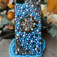 Blue, Silver & Pearl Custom iPhone 5 Case- Daydreamer