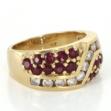 Vintage 14 Karat Yellow Gold Diamond Ruby Pinky Cocktail Ring Estate Jewelry