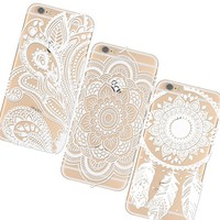 """iPhone 6 4.7inch Case Cover,3pc Plastic Cases Covers for Apple Iphone6 4.7"""" Henna White Floral Paisley Flower Mandala Retro/Vintage Floral Flowers Pattern Clear/Transperant Durable PC Hard Case Ultra Slim Fit For Iphone 6 4.7"""" White,With a Stylus"""