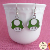 1 - UP Earrings - Green Mushroom - Extra Life - Gift for gamer girls - handmade dangle earrings