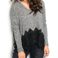 Buy in America Charcoal & Black Lace-Accent V-Neck Sweater | zulily