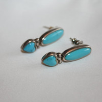 Sterling Turquoise Earrings Vintage 1970s Estate  Jewelry