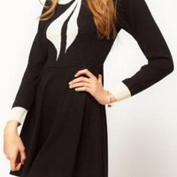 Black Round Neck Long Sleeve Bow Wool Dress - Sheinside.com
