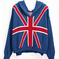 Blue Hooded Long Sleeve Union Jack Flag Print Sweater - Sheinside.com