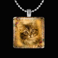 Antique Kitty Glass Pendant