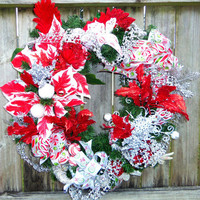 Front Door Wreath Winter Wreath Traditional Red and White Wreath, red candy cane wired ribbon