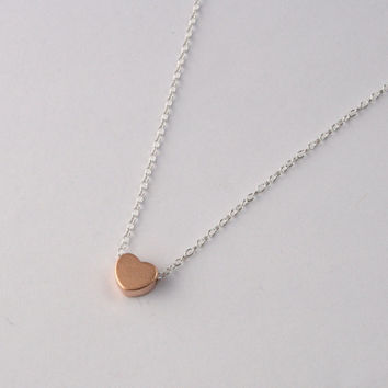 Rose Gold / Yellow Gold / Silver Block Heart Charm with Sterling Silver Chain Necklace