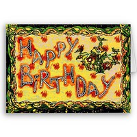 Russian folk art Happy Birthday from Zazzle.com