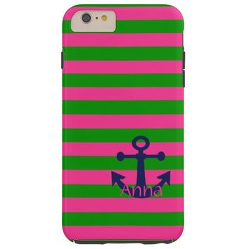 Preppy Pink and Green Stripes Anchor iPhone6 Case