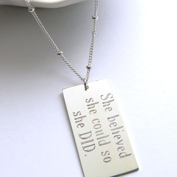She Believed She Could So She Did Engraved Pendant in Silver Running Jewelry Inspirational Necklace Motivational Pendant Graduation Gift