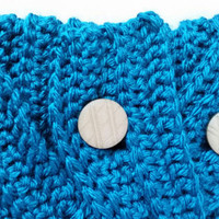 Bright Teal Neckwarmer Scarf with Braided Button Closure
