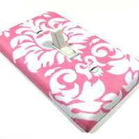White and Pink Damask Light Switch Cover Cottage Chic Shabby Chic Home Decor Nursery Switchplate Switch Plate 967