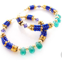 Blue Hoop Earrings / Rhodium Hoops / Beaded Blue Hoops / Teal Green / Nubian Earrings / OOAK Statement Earrings / Handmade by JeannieRichard