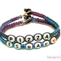 Set of Two Bracelets, Pizza is Bae in Purple Haze, Macrame Hemp Jewelry for Pizza Lovers