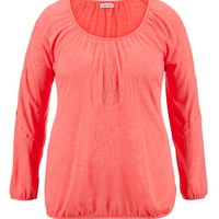 Plus Size - Embroidered Hacci Banded Bottom Top - Calypso Coral