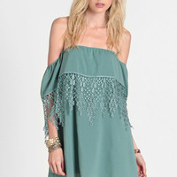 Premonition Off Shoulder Dress in Sage - $42.00: ThreadSence, Women's Indie & Bohemian Clothing, Dresses, & Accessories