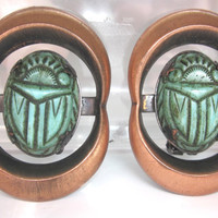 Vintage Scarab Green Earrings clip on Egyptian style, copper color