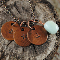 Nautical Copper Necklace with Three Charms and Amazonite Stone on Ball Chain