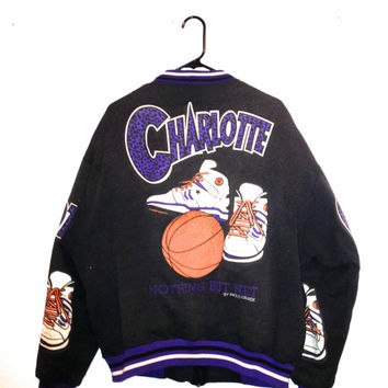 Vintage 90s Charlotte basketball bomber jacket retro hip hop style by Paolo Grande