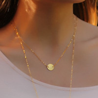 "Coin disc necklace, gold necklace, disc necklace, 14k gold filled, everyday necklace, minimalist, tiny charm, simple necklace, ""Galaxy"""
