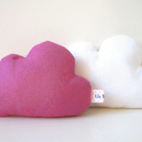 Two cloud pillows, Cloud Home Decor, Cloud Softies, White and Pink, set of two, girl babyshower gift