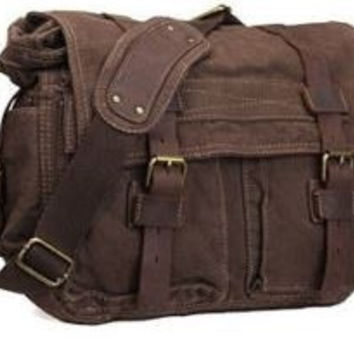 Canvas Leather Old School Messenger Bag Coffee