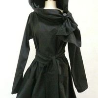 Maria Severyna Black Twill thread Trench Jacket by DDreamCloset