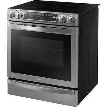 "Samsung - Flex Duo Chef Collection 30"" Self-Cleaning Slide-In Double Oven Electric Convection Induction Range - Stainless-Steel"