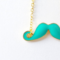 Turquoise Moustache Necklace. Color Block. Fun Necklace.