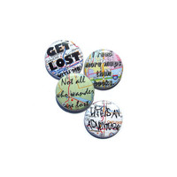 Wanderlust Map Pinback Button Set of 4 Not All Who Wander Are Lost Quote Travel Adventure