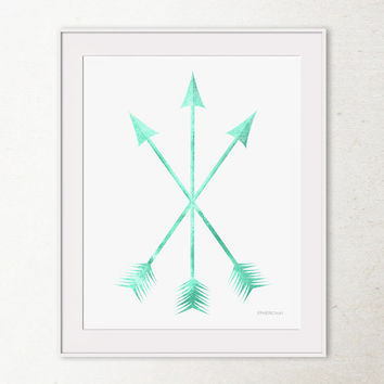 Mint art, Arrows Art Print, Mint arrows PRINTABLE wall art print, Mint green Arrow Print, Tribal Arrows Wall Decor, Crossed Arrows Wall Art