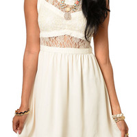 Cream Sexy Chiffon Floral Lace Cut Out Open Back Date Dress