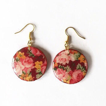 Rose Print Dangling Earrings