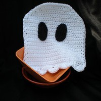 Halloween Ghost Dishcloth - White