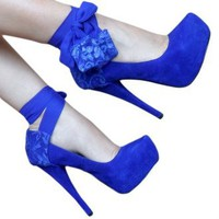 Blue Chiffon With Lace Heel Panty