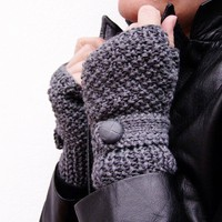DARK GREY Fingerless gloves with a strap by homelab on Etsy